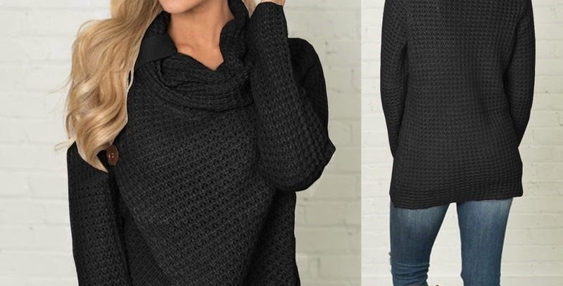 Black Asymmetric Wrap Style Knitted Poncho