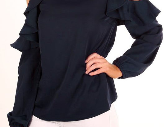 Romantic Navy Blue Frill Ruffle Cold Shoulder