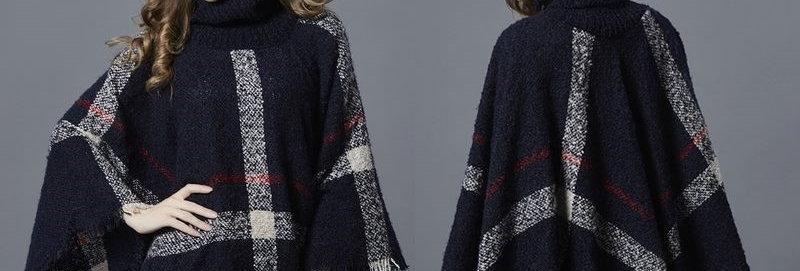 Kimono Sweater Poncho Blue