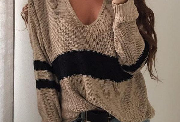 Khaki & Black Stripe Loose Fit V Neck