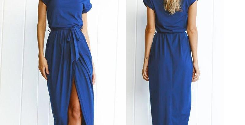 Blue Short Sleeve Jersey Cotton Long Dress