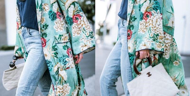 Luxurious Green Floral Bohemia  Kimono