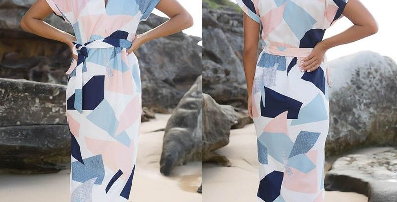 Geo Print Boutique Bodycon Midi Party Dress