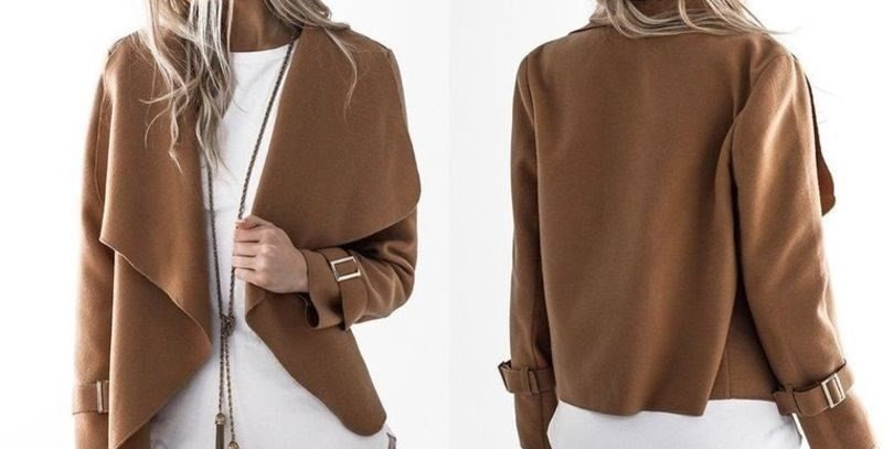 Brown Fold Collar Waterfall Light Duster Coat