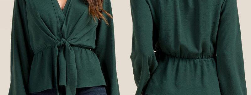 Dark Green Bell Sleeve V Neck Tie Waist Shirt
