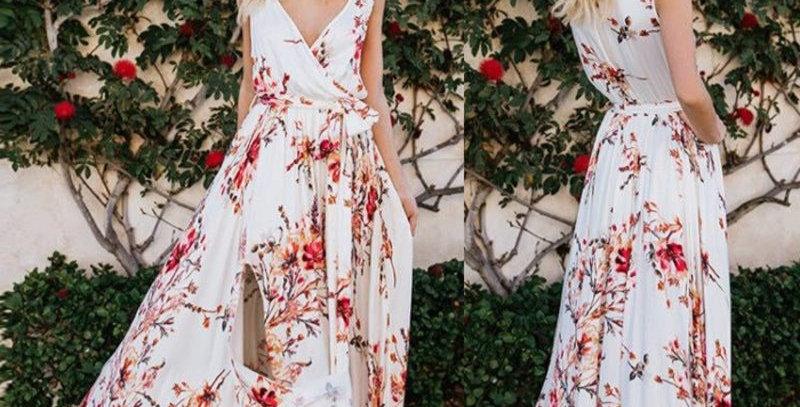 White Floral Plunge Thigh Split Long Dress