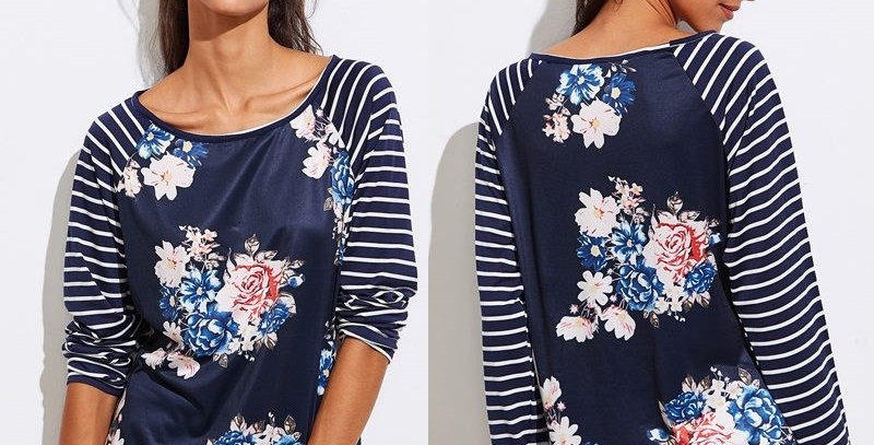 Navy Blue Blossom Floral Casual Hoodie
