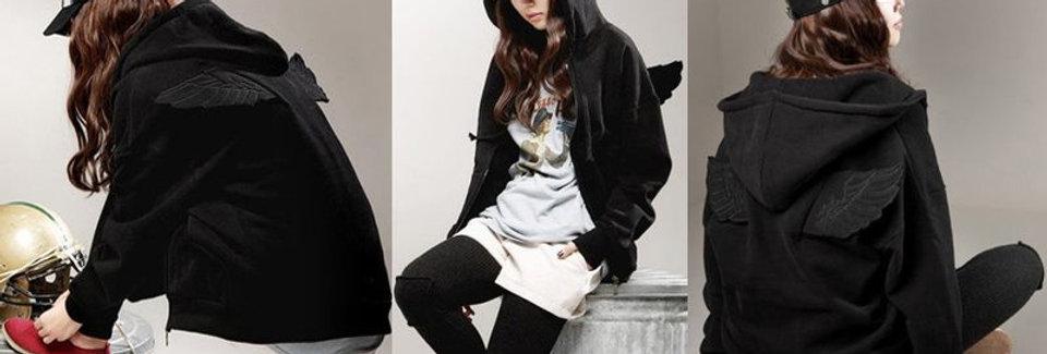 Black Angel Wings Fleece Hoodie Sweatshirt