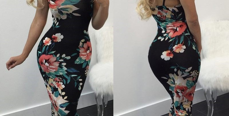 Sexy Black Blossom Floral Sleeveless Party Dress