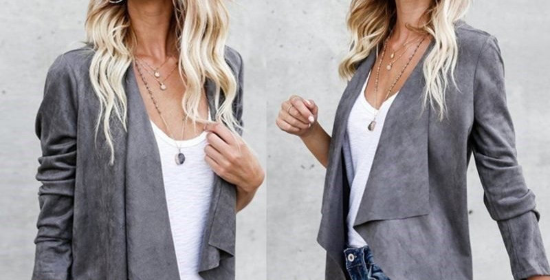 Grey Fold Collar Suede Waterfall Duster Coat