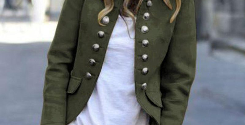 Army Green Military  Blazer Jacket