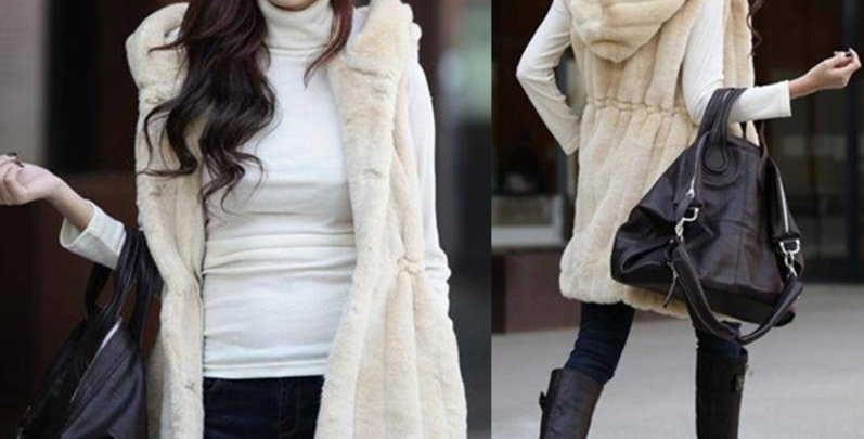 Beautiful Synthetic Fur Vest - Long