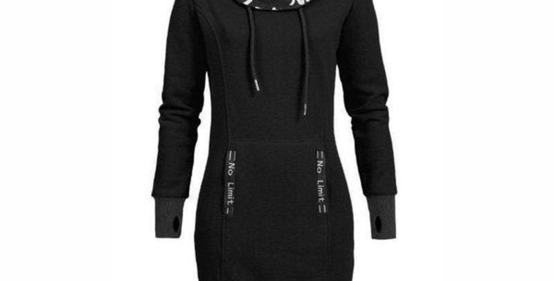 Black Doodle Turtle Neck Fleece Long Sweatshirt