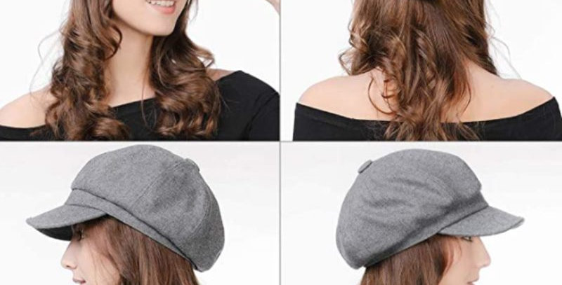 Grey Fashion Octagonal Cap British style.