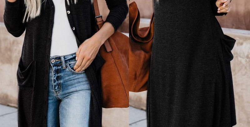 Black Long Sleeve Pocket Cardigan Top