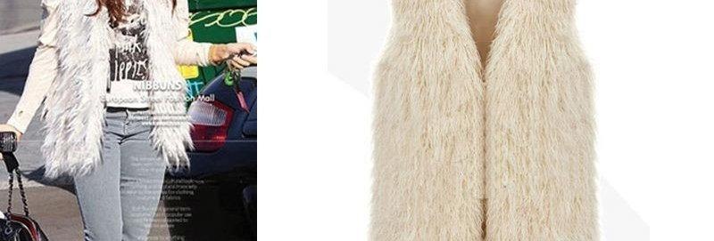 Celeb Style Ivory Long Faux Fur Shaggy Vest