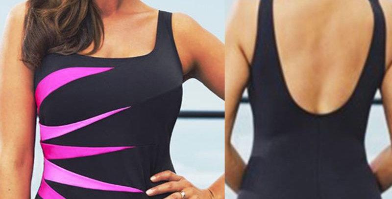 Black Padded Bikini Set Tankini 1-Piece Monokini