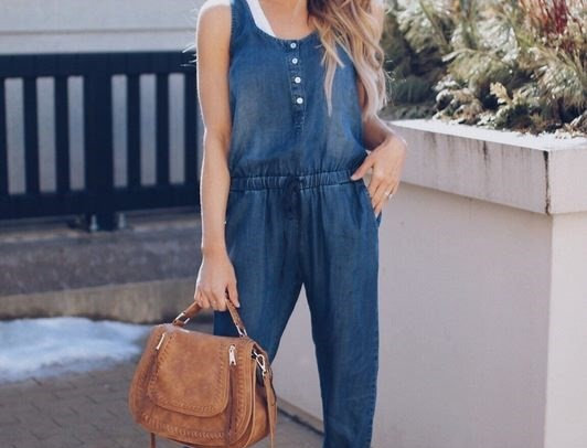 Blue Denim Sleevess Casual Jeans Jumpsuit