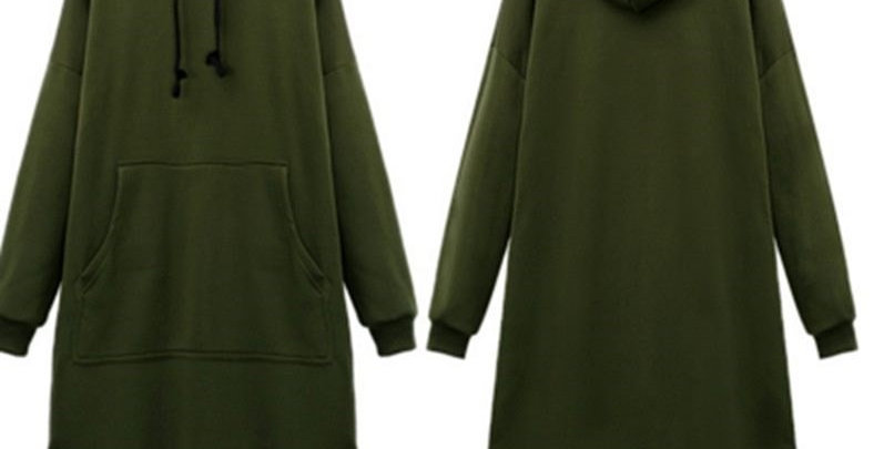 Army Green Oversized Fleece Long Hoodie Sweatshirt