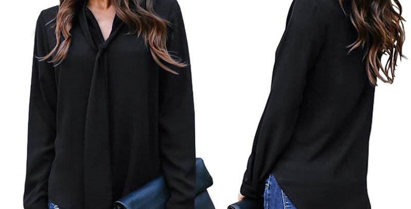 Black Tie Front Long Sleeve  Top