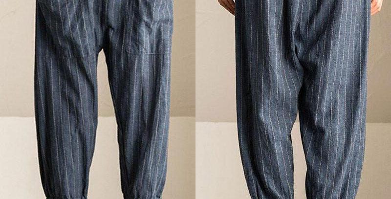 Blue Stripe Elastic Waist Loose Fit Baggy Pants