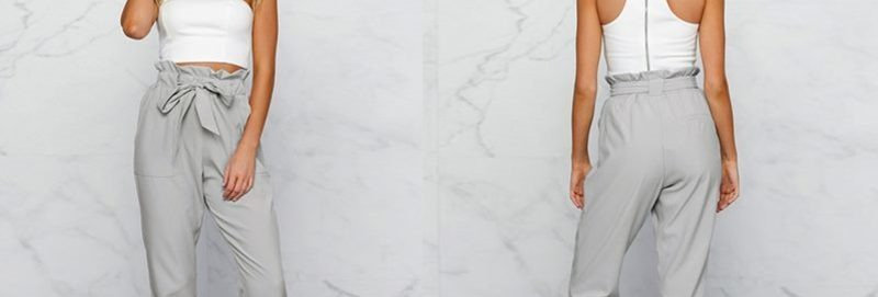Grey Ruffle High Waist  Skinny Leg Cropped Pants