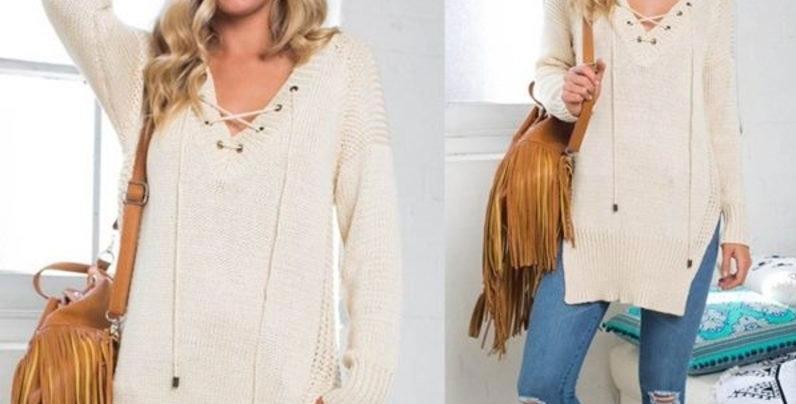 Beige Tie Front Casual  Sweater