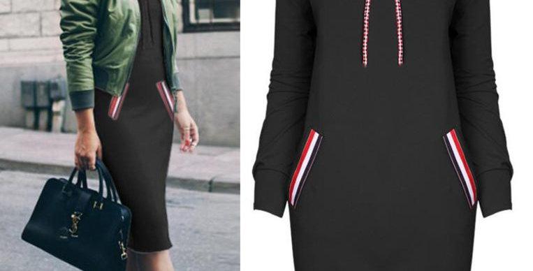 Black & Red Turtle Neck Casual Sweatshirt Dress
