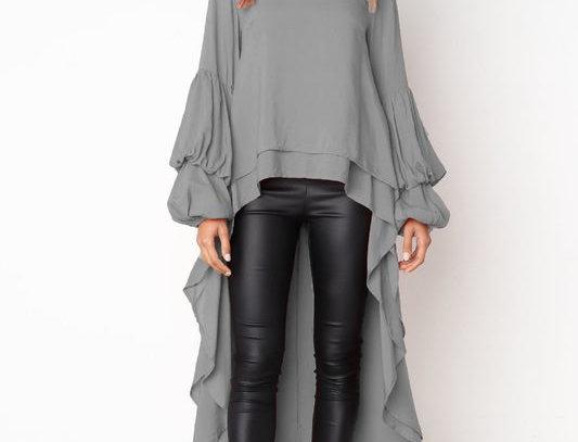 Smart Grey Layered Asymmetrical Swallow Tail Dress Top