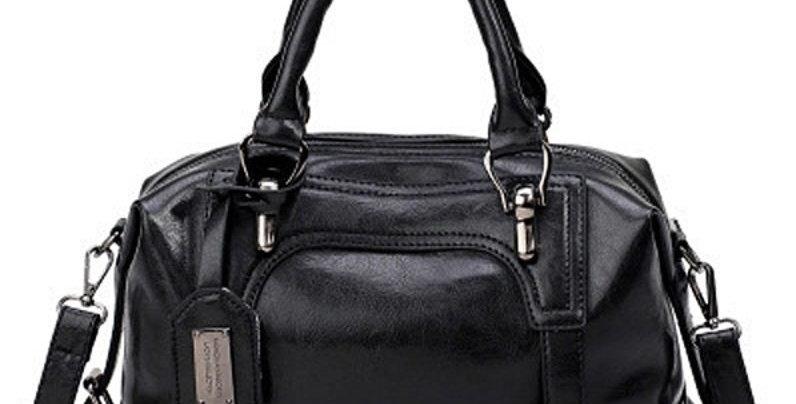Vintage Black Oil Waxing PU Leather Hand bag