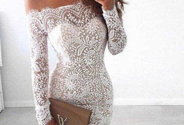 White Eyelash Lace Off Shoulder Boutique Party Dress