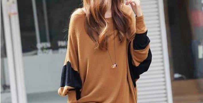 Brown & Black Stripe Batwing Kimono Top
