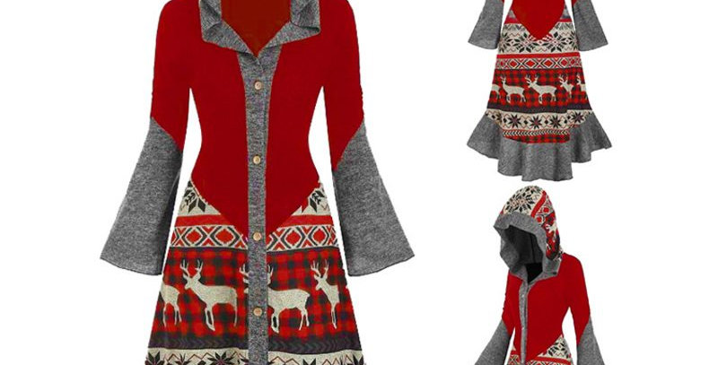 Red Grey Nordic Asymmetrical Hi Lo Long Sleeve Hoodie