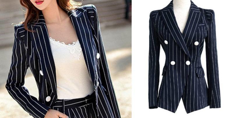 Dark Blue Stripe Padded Tailored Fit Blazer Jacket