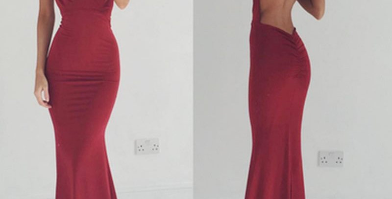 Burgundy Plunge Backless Long Train Party Gown