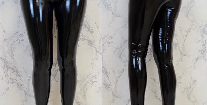 Black Metallic Wet Shiny Faux Patent Leather Tights