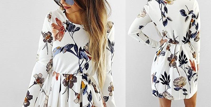White Blossom Floral Boutique Party Dress