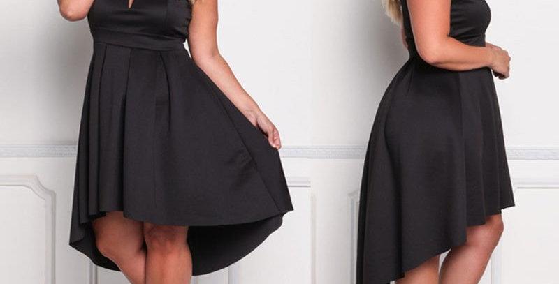 Black Asymmetrical Hi-Lo Cocktail Party Dress Plus Size
