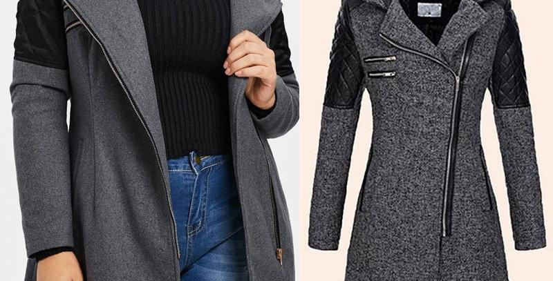 Black and Grey Contrast Zip Fly Warm WinterCoat
