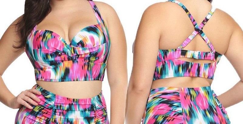 Colorful Prints Pin Up High Waist Bikini Set