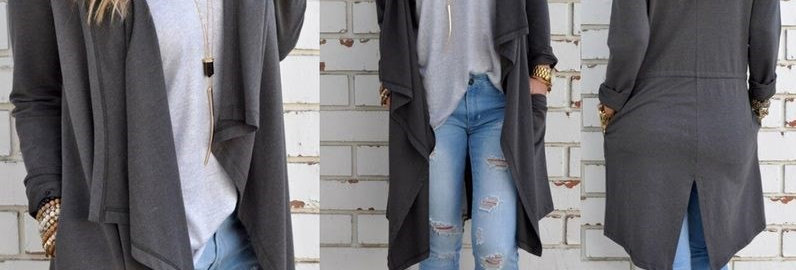 Grey Asymmetric Cardigan Top