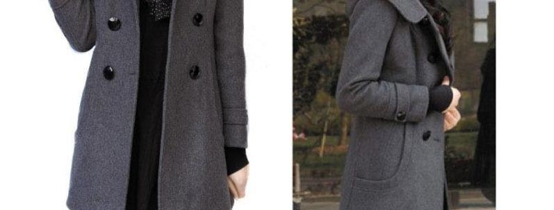 Grey Double Breast Winter Coat