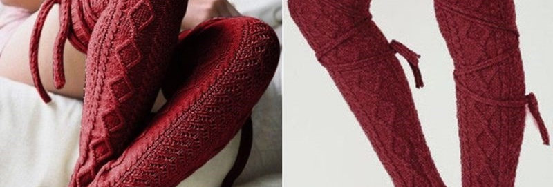 Maroon Knit Stockings