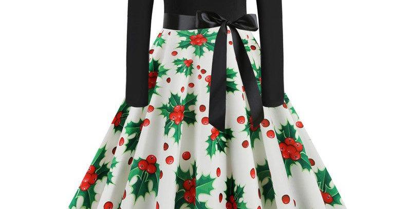 Festival Christmas Theme Flared Party Midi Dress