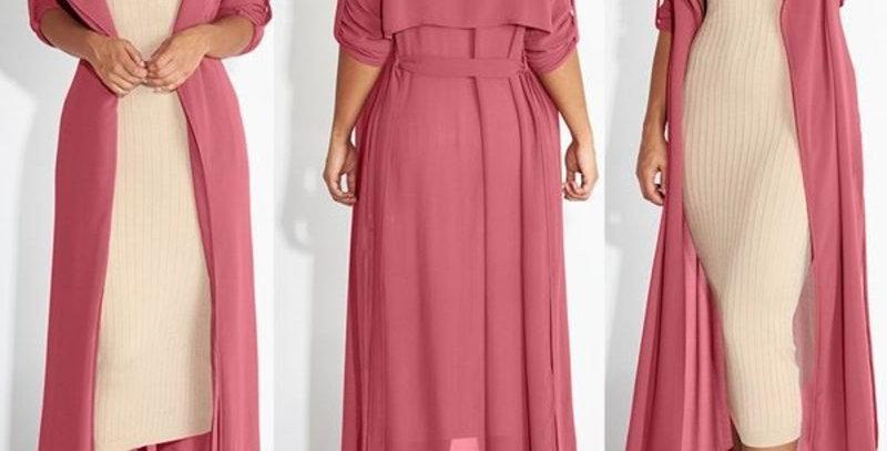 Pink Long Shirt Dress w Cropped Sleeves Boho Summer Dress