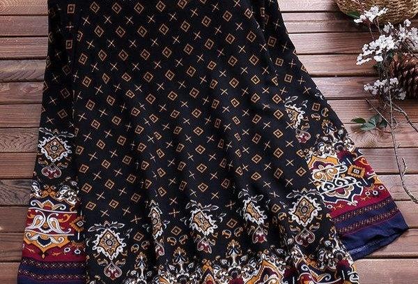 Black Boho Paisley Floral  Dress