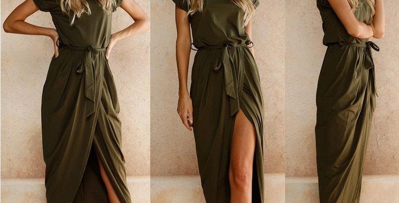 Army Green Short Sleeve Jersey Cotton Long Dress