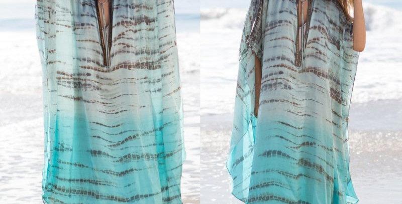 Tie Dye Print Boho Kimono Cover Up Kaftan