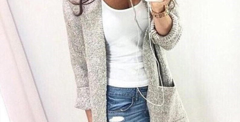 Grey Marl Grey Open Front Knitted Sweater