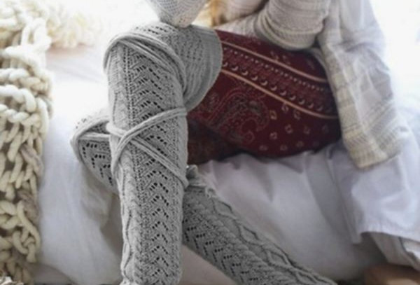 Dark Grey Winter Warm Knit Over Knee Leg Warmers